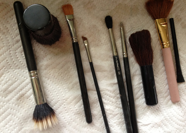 cleaned makeup brushes