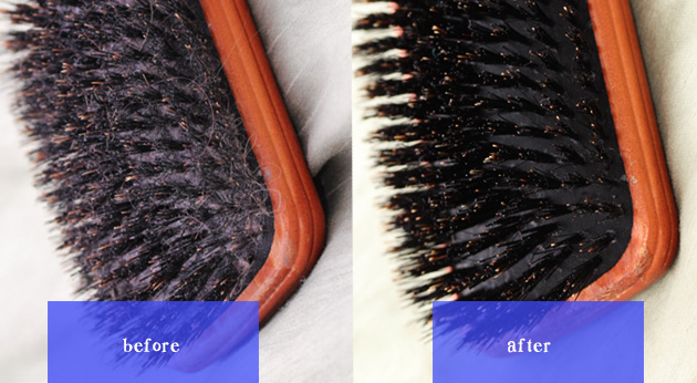 a before and after photo of a dirty and clean brush