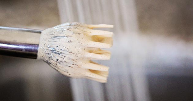 Rinse your makeup brush in warm water