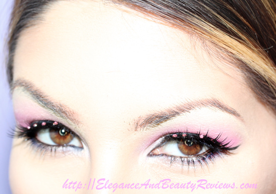 My pink rhinestone eyelashes