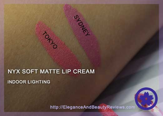 Indoor lighting showing NYX Tokyo and Sydney swatches