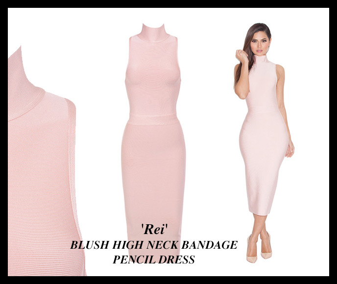 BLUSH HIGH NECK BANDAGE PENCIL DRESS