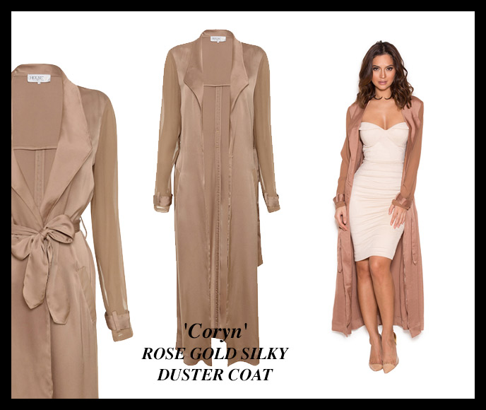 'Coryn' ROSE GOLD SILKY DUSTER COAT
