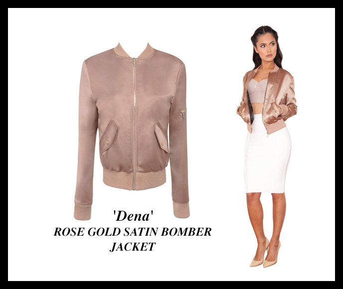 ROSE GOLD SATIN BOMBER JACKET