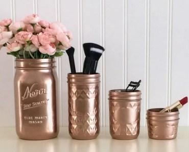 painted mason jar makeup brush holders