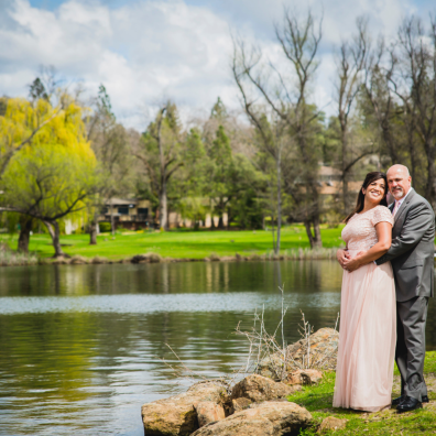 Beautiful engagement photo lakeside in Sacramento, California