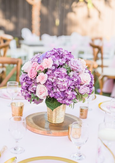Purple bouquet center piece