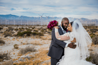 Wind Farm in background of wedding photos in palm desert / Elegant Events Media