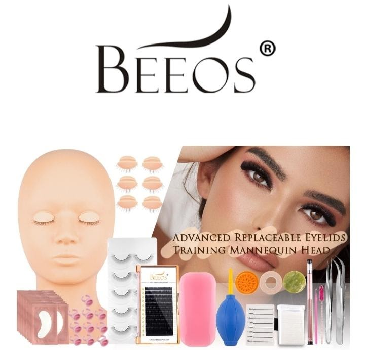 BEEOS Lash Mannequin Head Replaced Eyelids Silicon