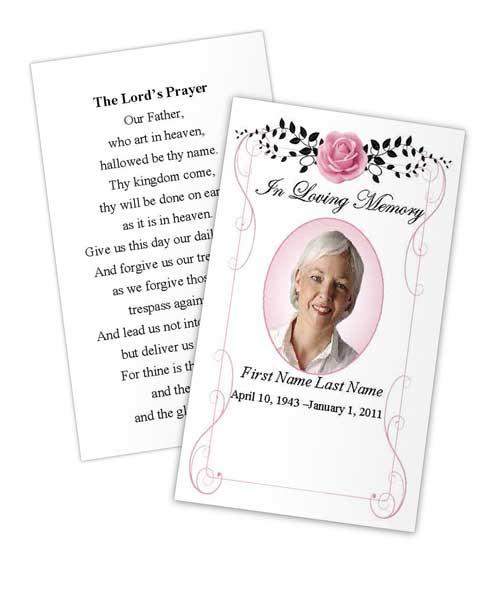 Beloved Vintage Rose Memorial Prayer Card Template