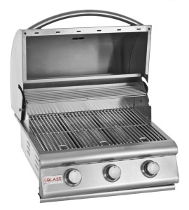 Blaze 25 Inch 3-Burner Built-In Barbecue Grill - Open Grill Head