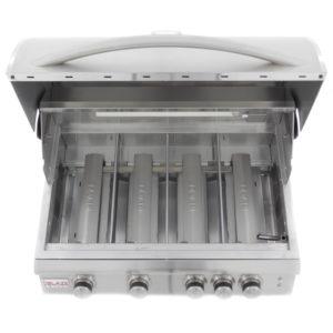 Blaze 32 Inch 4-Burner LTE Gas Grill With Rear Burner and Built-in Lighting System - Interior Burner Close-Up