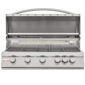 Blaze 40 Inch 5-Burner LTE Gas Grill with Rear Burner and Built-in Lighting System - Open Grill Head