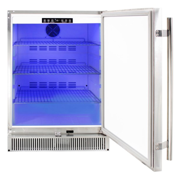 Blaze Outdoor Rated Stainless 24 Inch Refrigerator 5.2 CU - LED Light Functionality