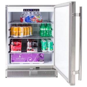 Blaze Outdoor Rated Stainless 24 Inch Refrigerator 5.2 CU - Open Refrigerator Door