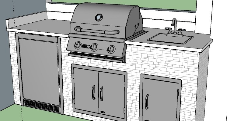 Custom outdoor kitchen design using CAD (Computer Aided Design). Elegant Outdoor Kitchens uses the latest in computer aided technology for our barbecue island designs