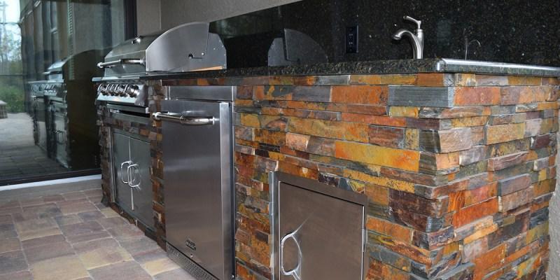 California Gold Stacked Stone and Uba Tuba Granite Counter-top