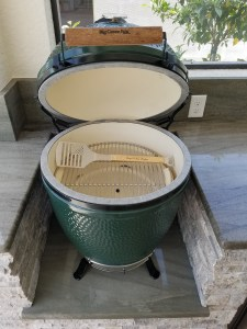 Close-up of Open Big Green Egg Grill