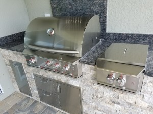 Close-up of Blaze Grill with Level 1 Blue Sapphire Granite