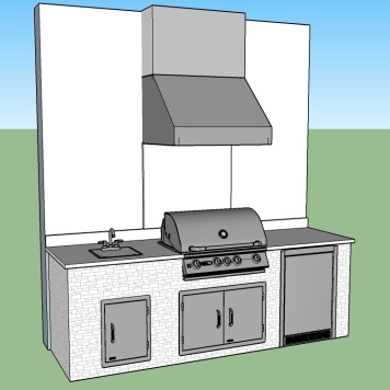 Left Side of Custom Barbecue Island Design