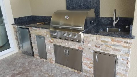 10 Ft 8 Inch Custom Outdoor Kitchen with Golden White stacked stone and Blue Sapphire granite countertop & backsplash