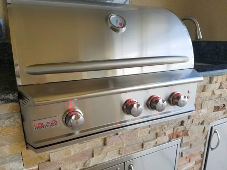 Blaze 3-burner 34 Inch Professional Series Barbecue Grill Close-up - Elegant Outdoor Kitchens
