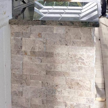 Close-up of Silver Travertine Stacked Stone