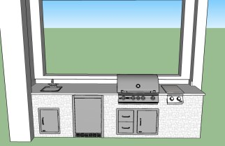 Custom Elegant Outdoor Kitchens 3D CAD Design Rendering