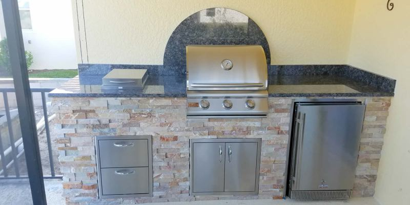 Linear Custom Outdoor Kitchen by Elegant Outdoor Kitchens