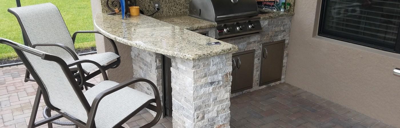 Unique Bar Top Custom Outdoor Kitchen Design - Elegant Outdoor Kitchens