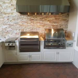 Elegant Outdoor Kitchens Custom Barbecue Island with High Density Polyethylene (HDPE or marine grade) cabinets