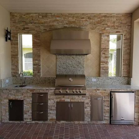 Linear Custom Barbecue Island Rebuild - Elegant Outdoor Kitchens of SWFL