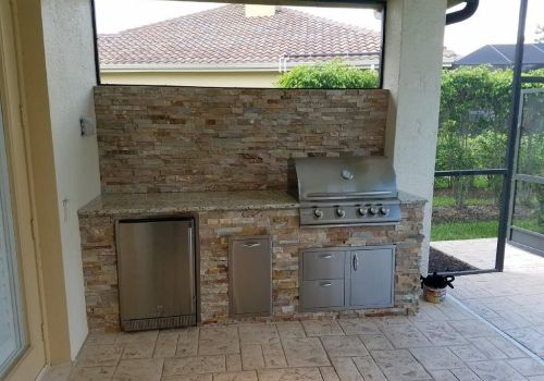 Elegant Outdoor Kitchen, Outdoor Kitchen, Outdoor Kitchens, Barbecue Islands, Barbecue Island, Blaze grill, Outdoor Living, Outdoor Living Area, Custom Outdoor Kitchen, Professional Kitchen, Ft Myers, Florida, Estero, Naples, Ben and Andrea