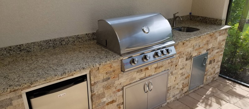 Cappadocia stacked stone base with Blaze Grill Top