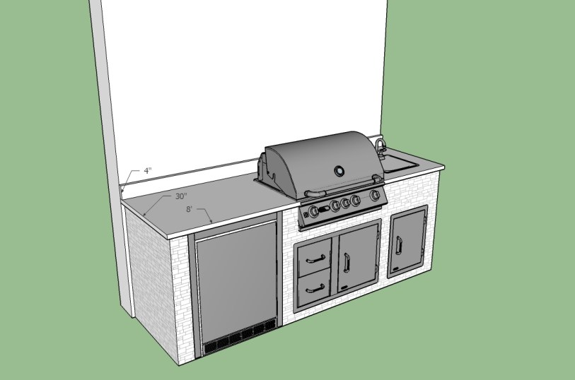 """CAD layout for 7'10"""" barbecue island in Iona, Florida"""