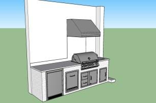 Uba Tuba Granite with Silver Travertine stacked stone Outdoor Kitchen by Elegant Outdoor Kitchens.