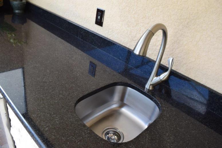 Outdoor kitchen with under mount sink