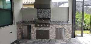 "Blaze 4.1 cubic foot outdoor rated refrigerator, Blaze trim kit for 4.1 CU FT refrigerator, 36"" Trade-Wind hood, Blaze 32"" 4-burner LTE Series grill, Blaze infrared searing burner, Blaze 32"" double drawer, access door, Blaze double trash and recycle drawer"