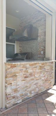 Golden White Stacked Stone Outdoor Kitchen Facade Finish