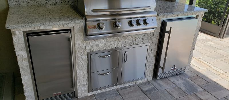 Close-up of Diana Royal Stacked Stone finish on Barbecue Island Cabinetry