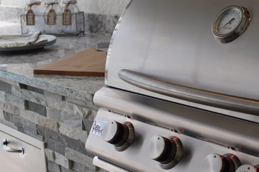Blaze 4-burner LTE grill is the most commonly selected grill installed by Elegant Outdoor Kitchens