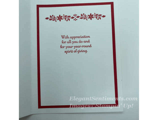 Christmas card greeting using Stampin Up products
