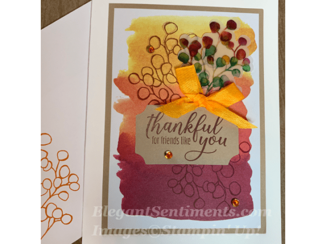 Thank you card made with Stampin Up products