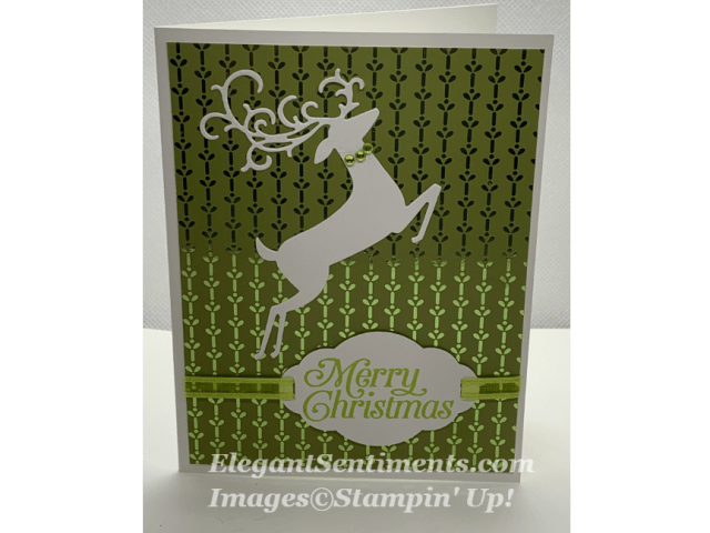 Christmas Card with a white reindeer.