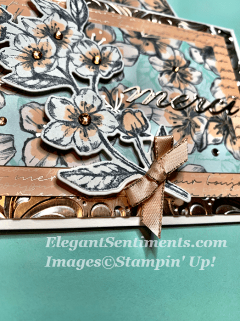 Close up of a Thank you card using Stampin Up products
