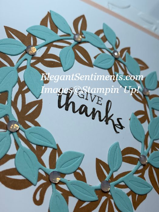 Close up of a Thanksgiving card made with Stampin' Up!