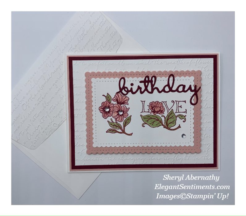 Floral Birthday card and embossed envelope made with Stampin' Up! products