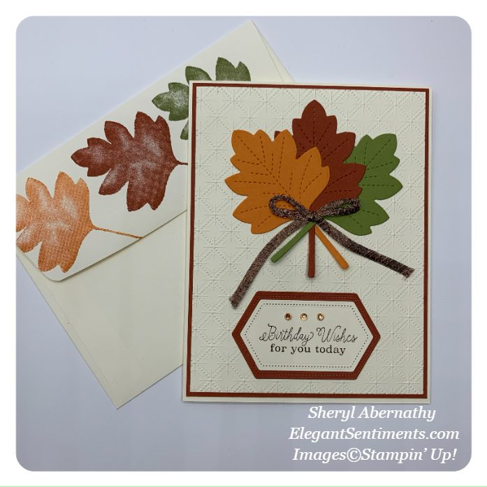 Autumn birthday card and coordinating envelope made with Stampin' Up! products