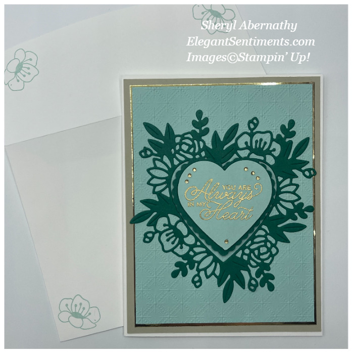Valentine card and coordinated envelope made using Stampin' Up! products.