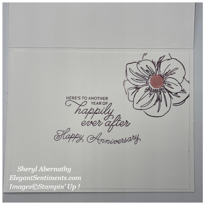 Inside of an Anniversary card made with Stampin' Up! products